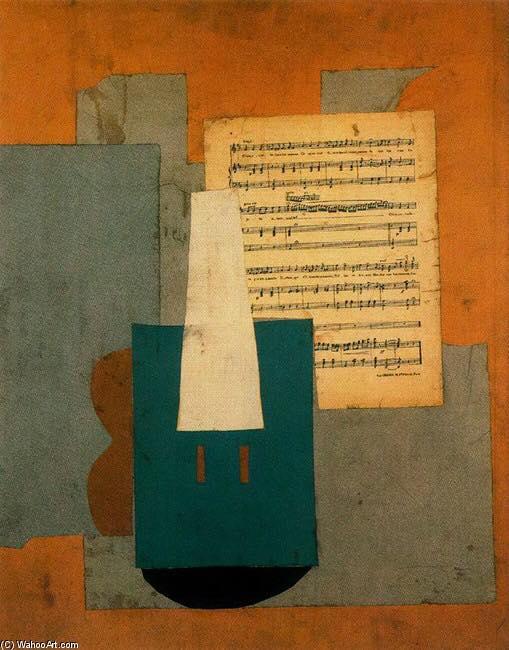 Óleo de Pablo Picasso. Violín y partitura (1912)