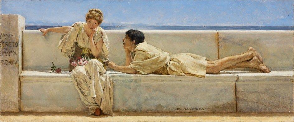 La pregunta (1877). Lawrence Alma-Tadema